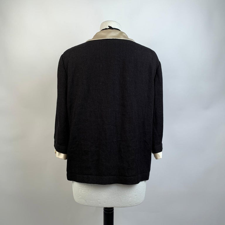Gucci Black Linen Jacket with Contrast Silk Collar Size 42 For Sale 2