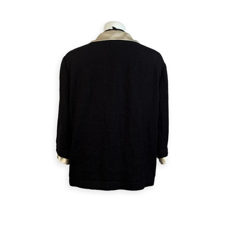Gucci Black Linen Jacket with Contrast Silk Collar Size 42 For Sale 3