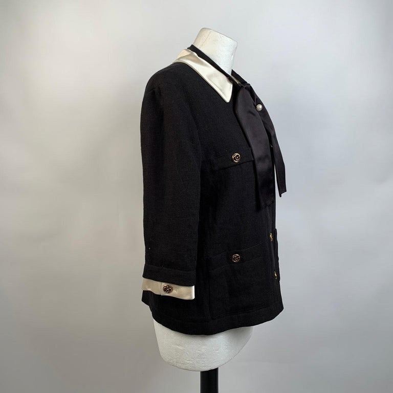 Gucci Black Linen Jacket with Contrast Silk Collar Size 42 For Sale 4