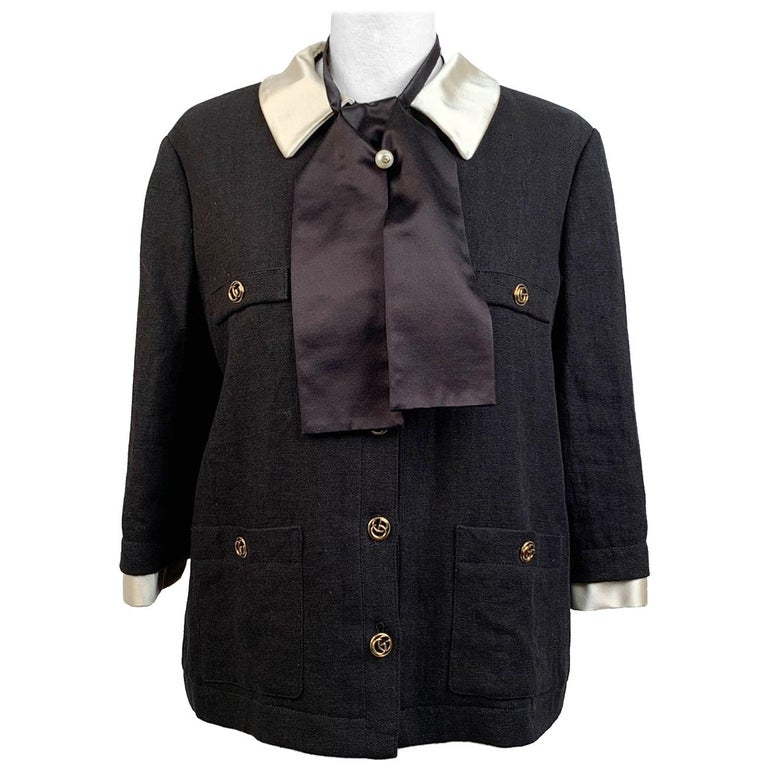 Gucci Black Linen Jacket with Contrast Silk Collar Size 42 For Sale