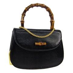 Gucci Black Lizard Exotic Bamboo Mini Kelly Top Handle Evening Shoulder Bag