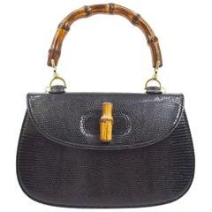 Gucci Black Lizard Exotic Bamboo Top Handle Satchel Kelly Style Shoulder Bag