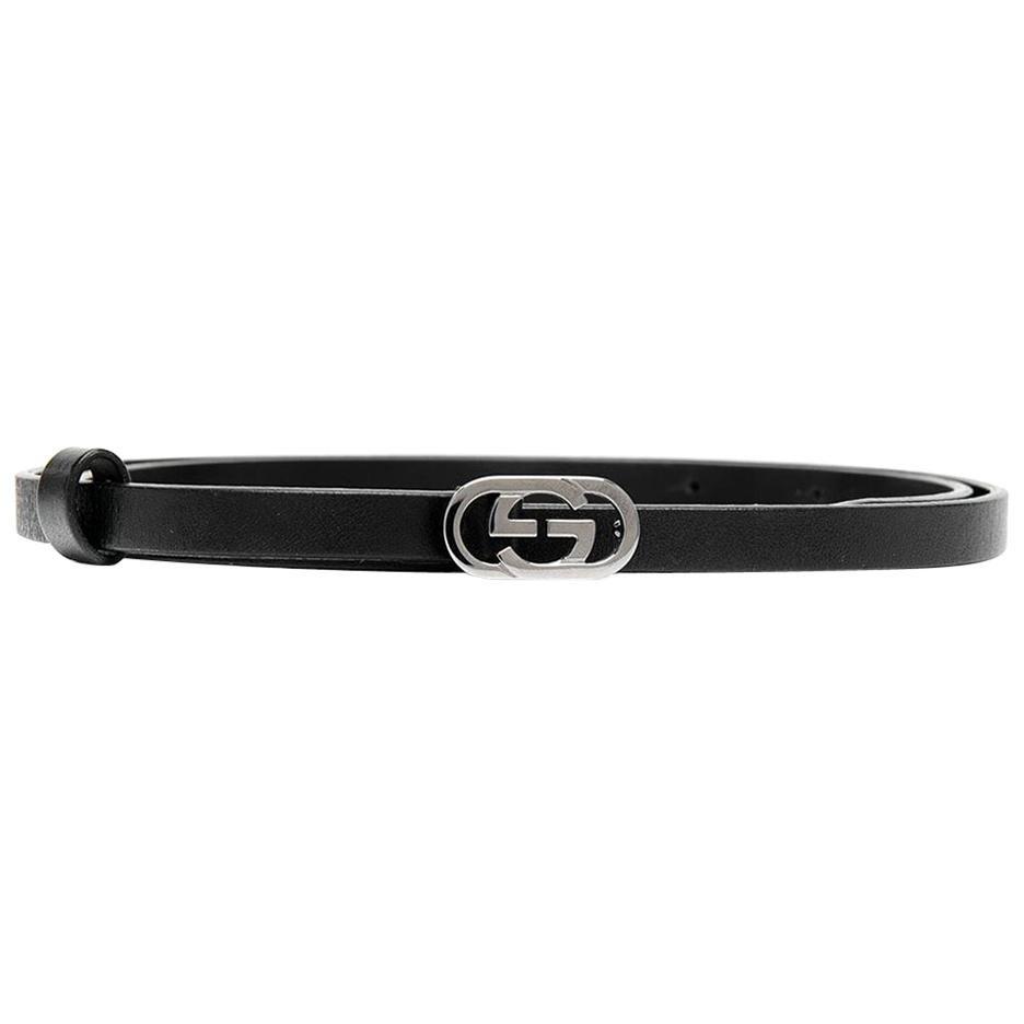 Gucci Black Logo Mini Buckle Belt