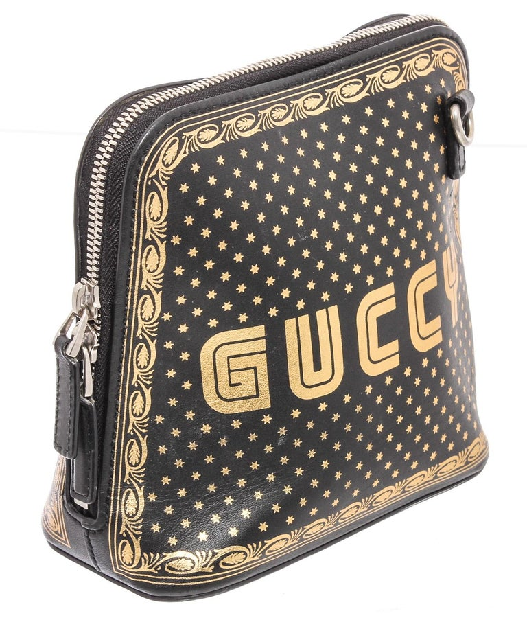 Gucci Black Logo Moon & Stars Leather Crossbody Bag In Good Condition For Sale In Irvine, CA