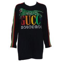 Gucci Black Logo Printed Knit Sequin Embellished Tiger Detail Long Sleeve T-Shir
