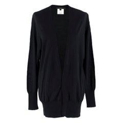 Gucci Black Longline Cashmere, Silk & Wool Blend Cardigan SIZE S