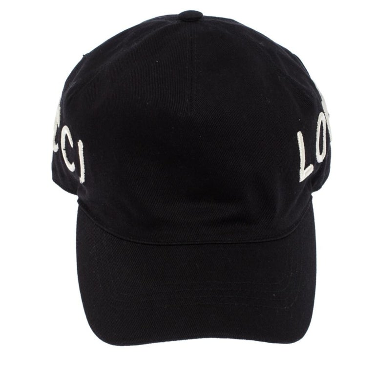Men's Gucci Black Loved Embroidered Canvas Baseball Cap M For Sale