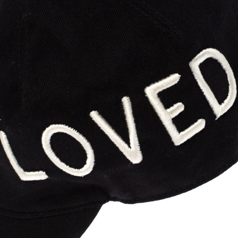Gucci Black Loved Embroidered Canvas Baseball Cap M For Sale 3