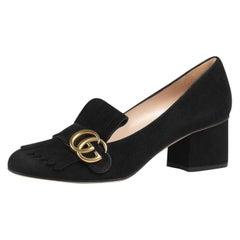 Gucci Black Marmont Fringe Suede 55mm Loafer 15ge0104 Flats