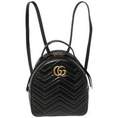 Gucci Black Matelassé Leather GG Marmont Backpack