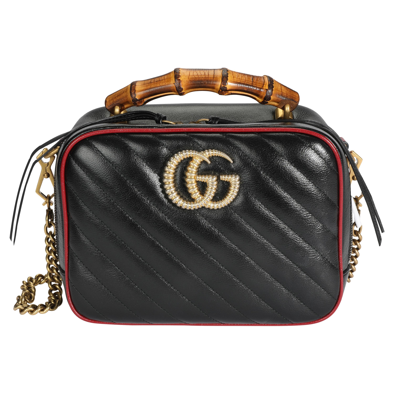 Gucci Black Matelassé Leather GG Marmont Bamboo Small Bag