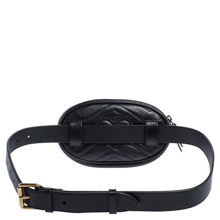 Gucci Black Matelasse Leather GG Marmont Belt Bag For Sale 7
