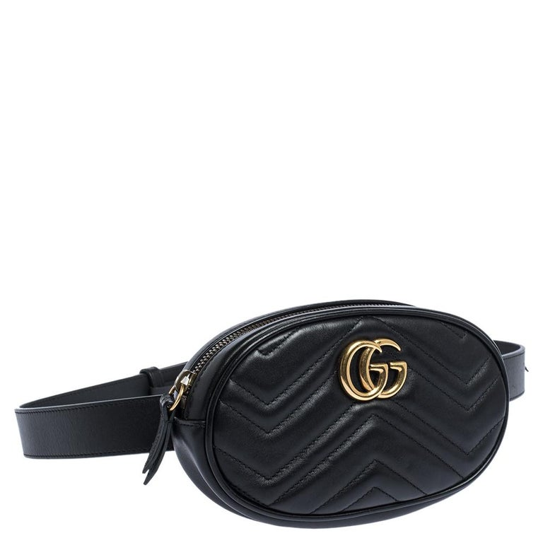 Gucci Black Matelasse Leather GG Marmont Belt Bag In Good Condition For Sale In Dubai, Al Qouz 2