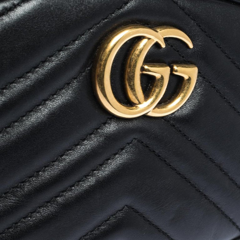 Gucci Black Matelasse Leather GG Marmont Belt Bag For Sale 1