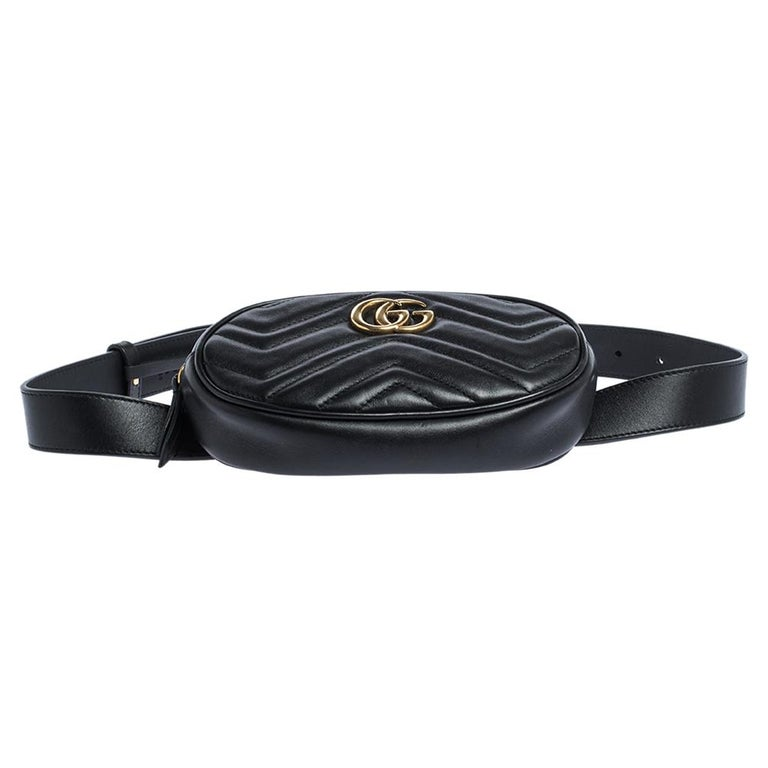 Gucci Black Matelasse Leather GG Marmont Belt Bag For Sale 4