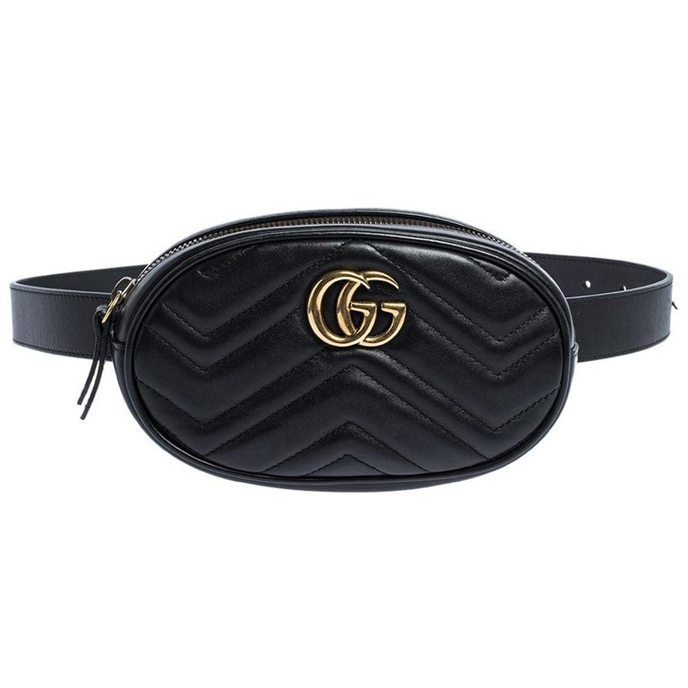 Gucci Black Matelasse Leather GG Marmont Belt Bag For Sale