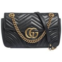 Gucci Black Matelasse Leather Small GG Marmont Shoulder Bag
