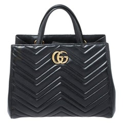 Gucci Black Matelasse Leather Small Marmont Tote