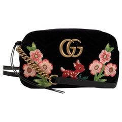 Gucci Black Matelassè Velvet GG Marmont Bambi Crossbody Bag