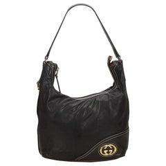 Gucci Black Medium Guccissima Leather Britt Hobo