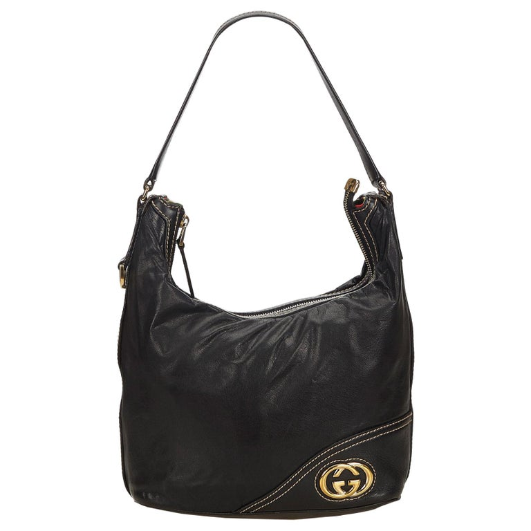 e7461bcbbcf Gucci Black Medium Guccissima Leather Britt Hobo For Sale at 1stdibs