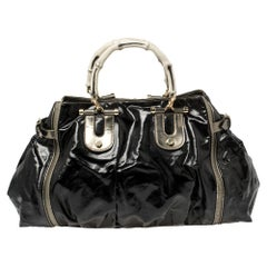 Gucci Black/Metallic Coated Canvas and Leather Dialux Pop Bamboo Satchel