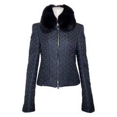 GUCCI Black Metallic Jacquard Cropped Jacket with Fox Fur