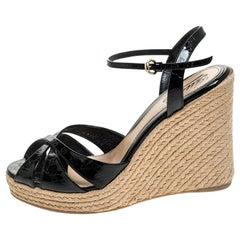 Gucci Black Micro Guccissima Patent Leather Espadrille Wedge Ankle Strap Sandals