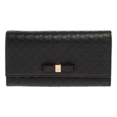 Gucci Black Microguccissima Leather Bow Flap Continental Wallet