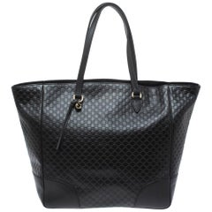 Gucci Black Microguccissima Leather Bree Tote