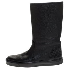 Gucci Black Microguccissima Leather Mid Calf Rain Boots Size 38
