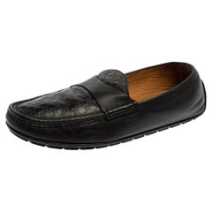 Gucci Black Microguccissima Leather Slip On Loafers Size 44