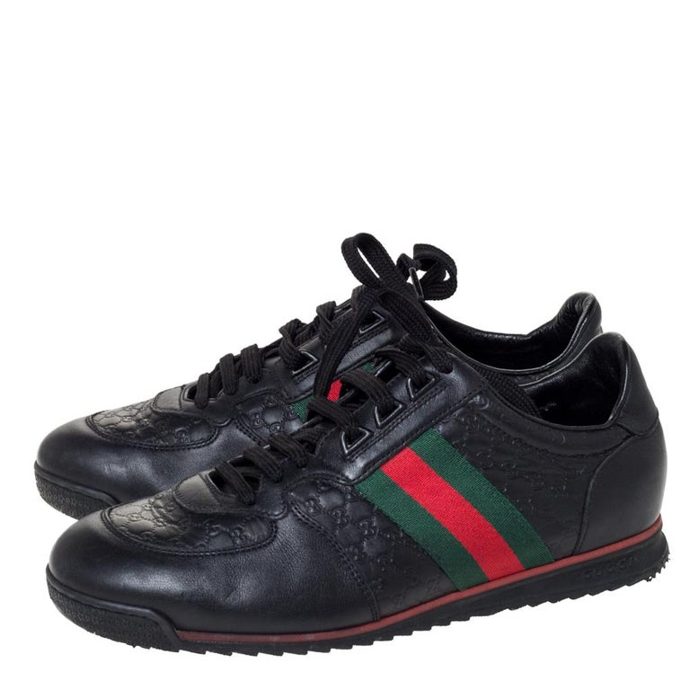 Gucci Black Microguccissima Leather Web Low Top Sneakers Size 40.5 1