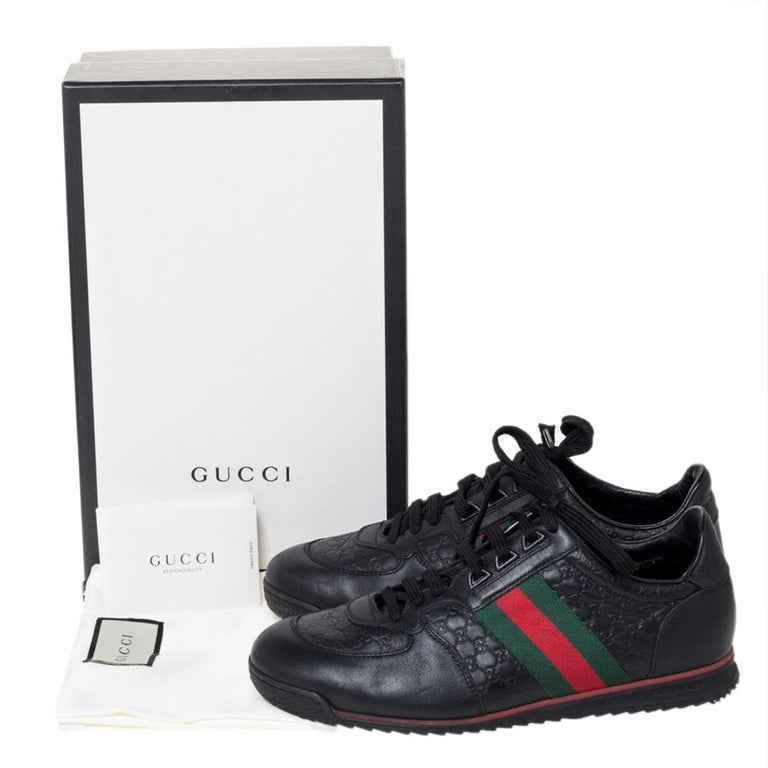 Gucci Black Microguccissima Leather Web Low Top Sneakers Size 40.5 4
