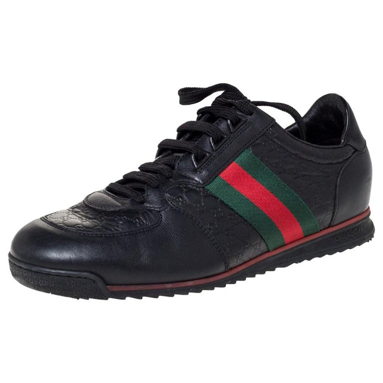 Gucci Black Microguccissima Leather Web Low Top Sneakers Size 40.5