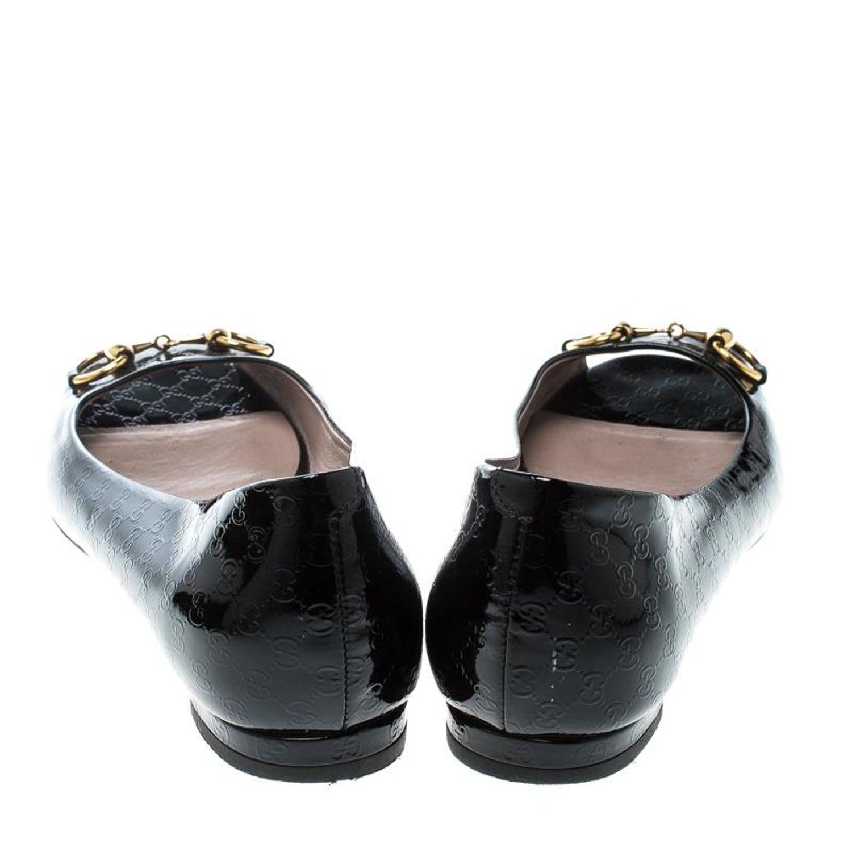 02906f4c642 Gucci Black Microguccissima Patent Jolene Horsebit Detail Peep Toe Ballet  Flats For Sale at 1stdibs