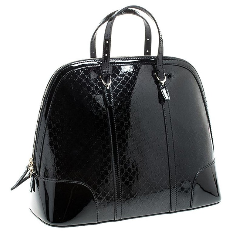 Women's Gucci Black Microguccissima Patent Leather Large Nice Satchel For Sale