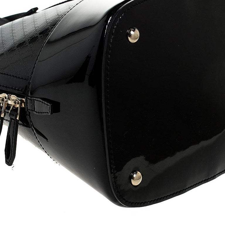Gucci Black Microguccissima Patent Leather Large Nice Satchel For Sale 2