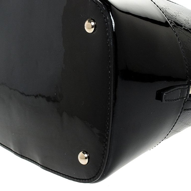 Gucci Black Microguccissima Patent Leather Large Nice Satchel For Sale 5