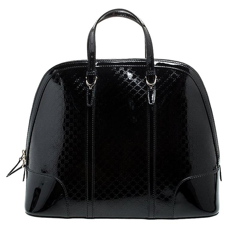 Gucci Black Microguccissima Patent Leather Large Nice Satchel For Sale