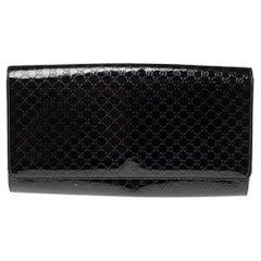 Gucci Black Microguccissima Patent Leather Medium Broadway Clutch