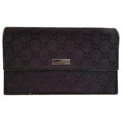 Gucci Black Monogram Canvas Flap Pouch Wallet Purse