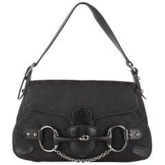 8a066b9d5ef Gucci Black Monogram Canvas Horsebit Shoulder Bag Tom Ford Era
