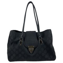 Gucci Black Monogram Canvas Lock Tote Shoulder Bag