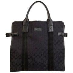 Gucci Black Monogram Canvas Shopping Bag Shopper Tote