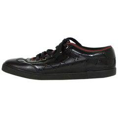 Gucci Black Monogram Sneakers w/ Leather Trim sz 36.5
