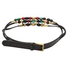 Gucci Black & Multicolor Beaded Belt