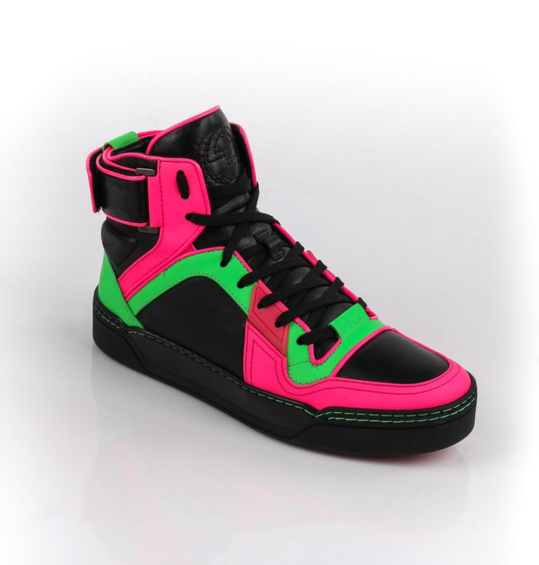 ae8813b973f DESCRIPTION  GUCCI Black Neon Green Pink Black Leather High Top Sneakers  Estimated Retail   798