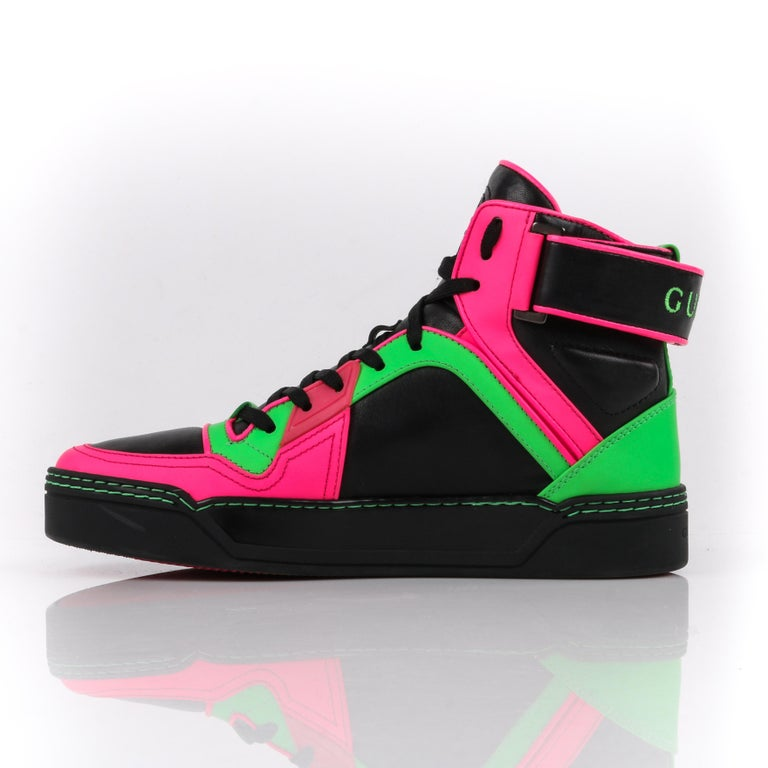 f8738f93bcc GUCCI Black Neon Green Pink Black Leather High Top Sneakers In Excellent  Condition For Sale In