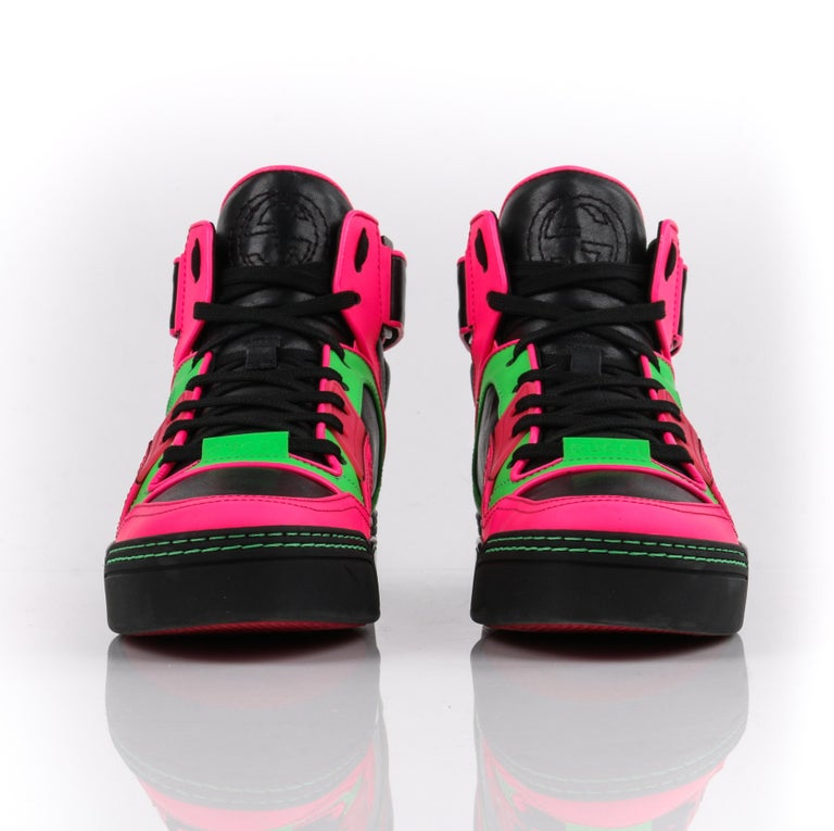 b4203657298 GUCCI Black Neon Green Pink Black Leather High Top Sneakers For Sale ...